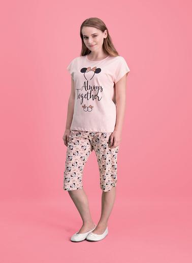 Mickey Mouse Mickey & Minnie Mouse Lisanslı Açık Gri Kadın Pijama Takımı Pembe